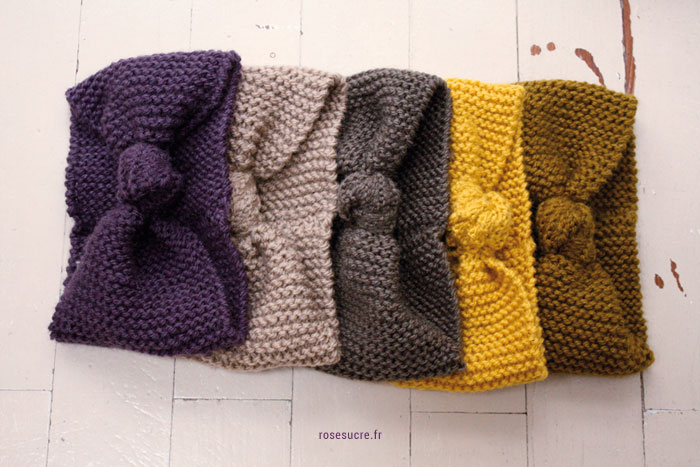 Mod le tricot bandeau avec n ud facile et rapide - Chat facile et gratuit ...
