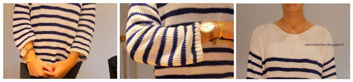 Tricoter un pull marinière en coton pour femme
