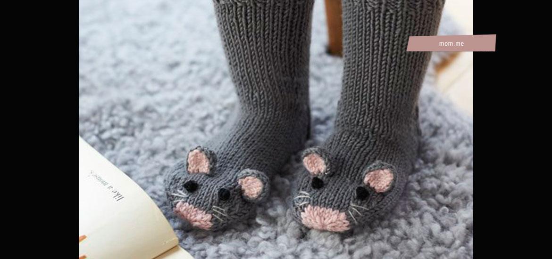 Modèle tricot gratuit de chaussettes souris pour enfant au point jersey