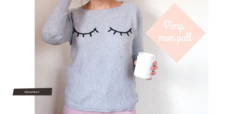 Tutoriel couture - Customisation un vieux pull en laine avec des yeux brodés