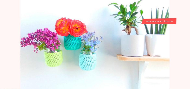 Tutoriel crochet gratuit - réaliser des vases muraux au crochet
