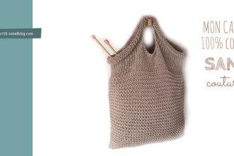 Explications tricot gratuit pour réaliser un cabas sans coutures