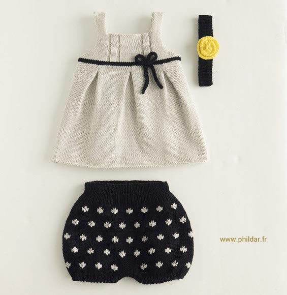 Modèle de bloomer au tricot proposé par Phildar